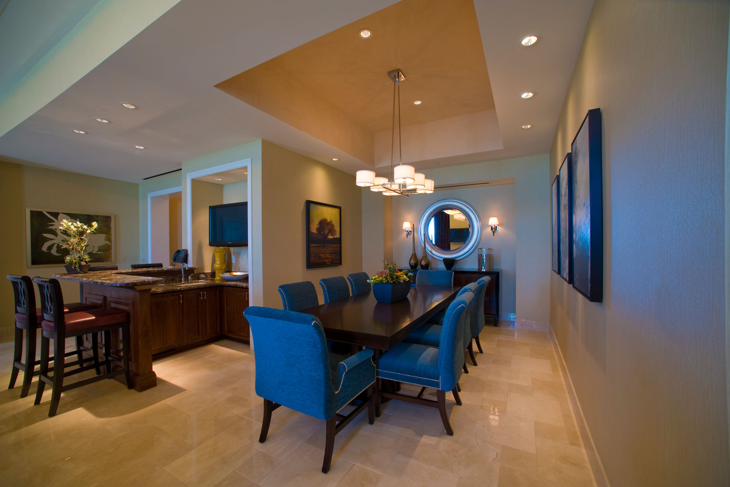 Each Suite has its own unique touches, such as dining tables, pool tables, personal workout equipment and more.